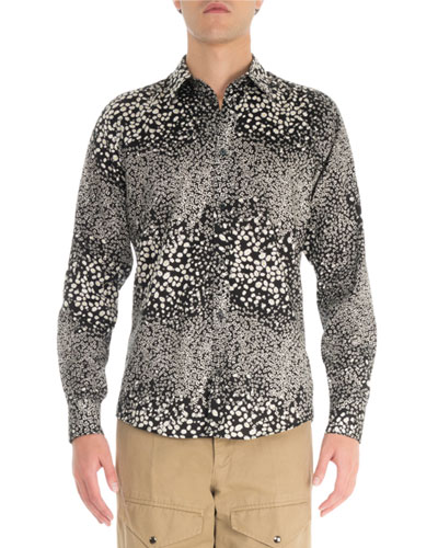 Men's S19 Daisy Printed Long-Sleeve Sport Shirt