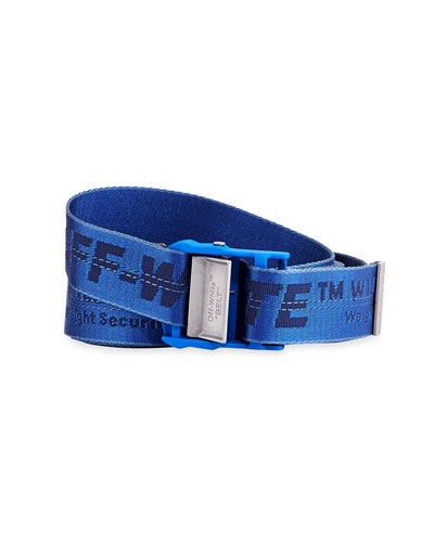 Men's Industrial Web Logo Belt  Blue