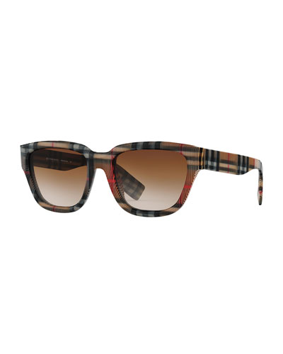Men's Mammoth Signature-Check Square Sunglasses