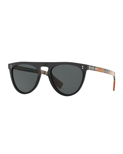 Men's Bluebird 54 Signature Check Acetate Aviator Sunglasses - Polarized