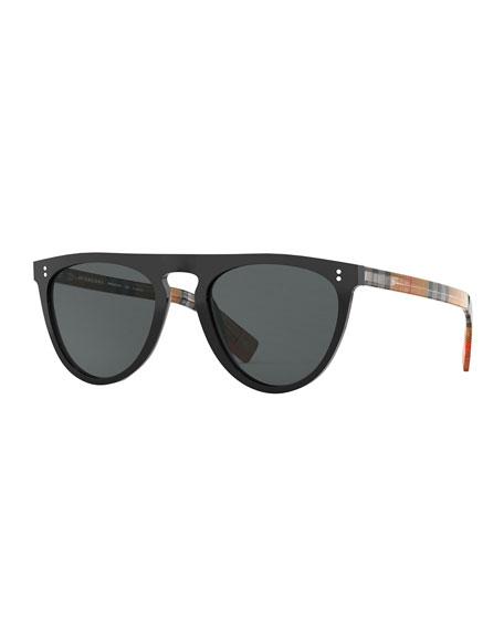 3354a5cecc52 Burberry Men'S Bluebird 54 Signature Check Acetate Aviator Sunglasses -  Polarized In Black/Gray