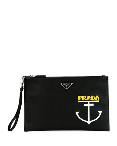 Men's Anchor Zip-Top Leather Portfolio