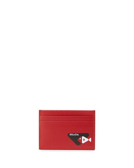 Prada Men's Fish-Graphic Saffiano Card Case