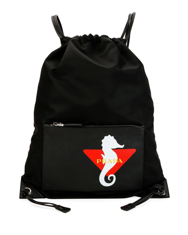 4ea4ac7ae061 Prada Men s Seahorse Nylon Rucksack Backpack