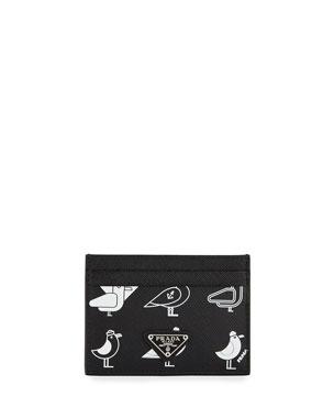5cebef7732 Prada Men s Seagull-Graphic Saffiano Card Case