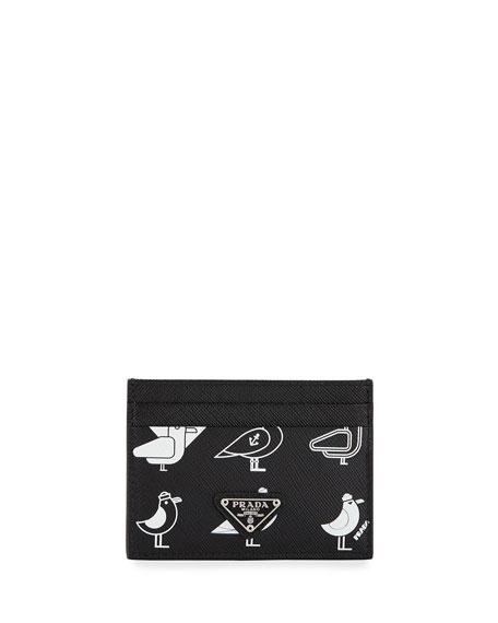 Prada Men's Seagull-Graphic Saffiano Card Case