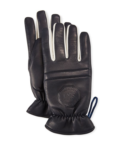 Men's Logo-Embossed Calfskin Leather Gloves