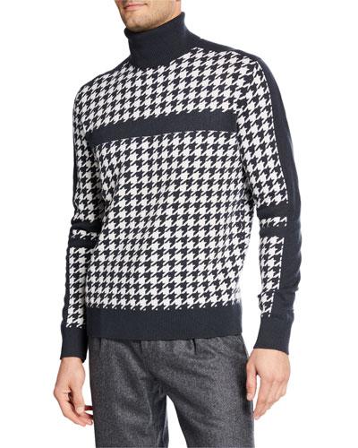 Men's Houndstooth Cashmere Turtleneck Sweater