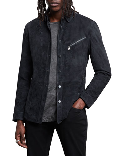 Men's Snap-Front Suede Shirt Jacket