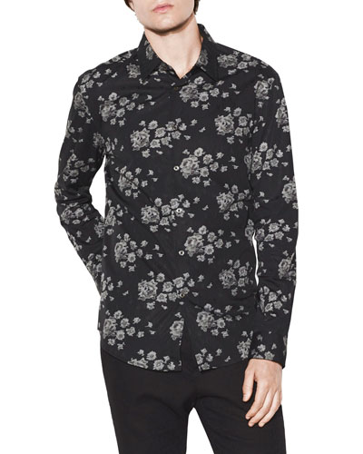 Men's Floral-Print Slim-Fit Sport Shirt