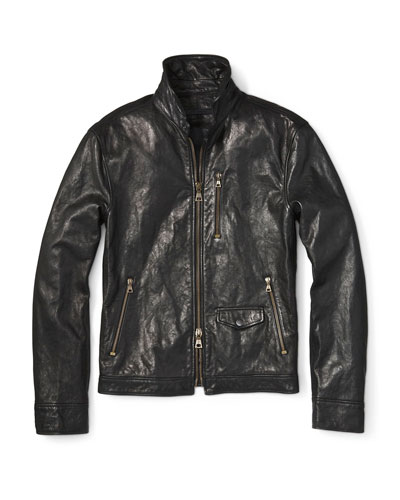 Men's Short Leather Zip-Front Jacket