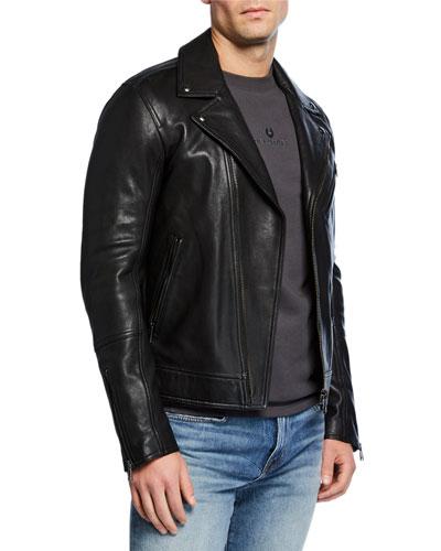 Men's Fenway Leather Zip-Front Moto Jacket