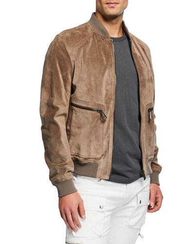 Men's Driftwood Winswell Oiled-Suede Bomber Jacket