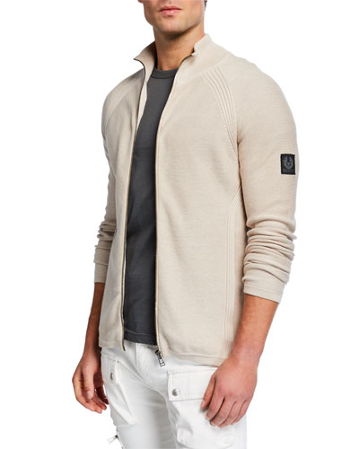 Men's Dray Cotton Zip-Front Cardigan