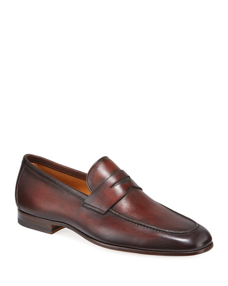 Neiman Marcus Loafers MEN'S BOLTIARCADE CAOBA LEATHER LOAFERS