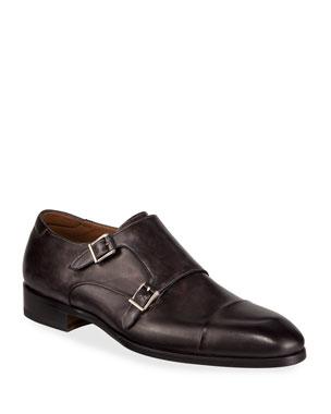 7749d711131 Magnanni for Neiman Marcus Men s Boltilux Super-Flex Leather Double Monk  Loafers