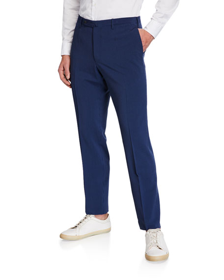 Incotex Pants MEN'S MATTY WOOL/SILK SEERSUCKER STRAIGHT-LEG TROUSERS
