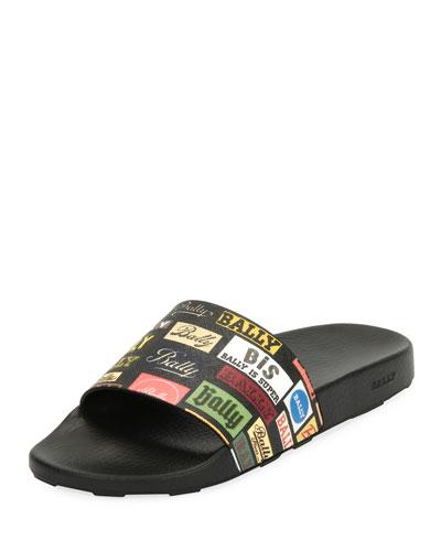 Men's Slanter Multi-Logo Pool Slide Sandals