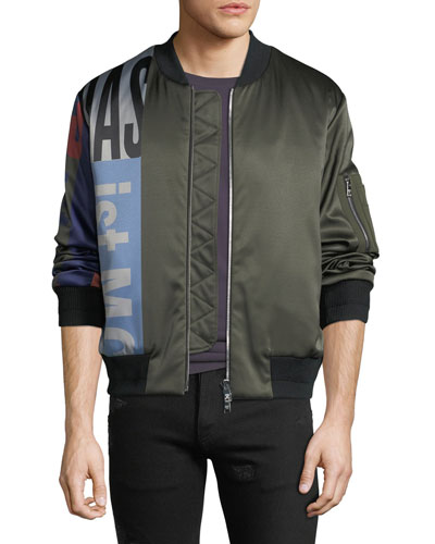 Men's Contrast-Sleeve Satin Bomber Jacket
