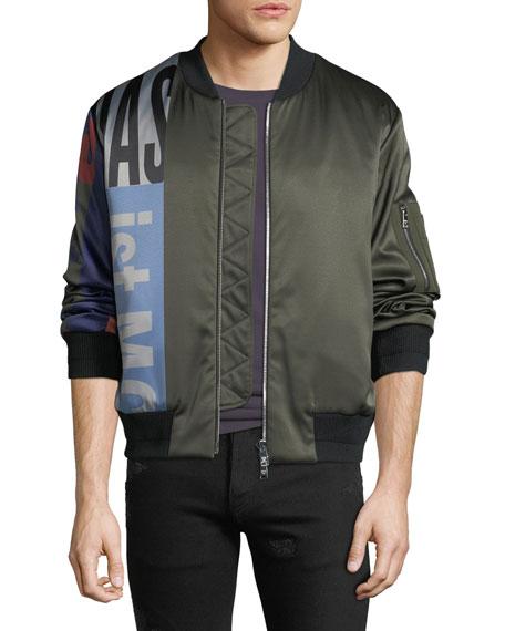 MCM Men's Contrast-Sleeve Satin Bomber Jacket