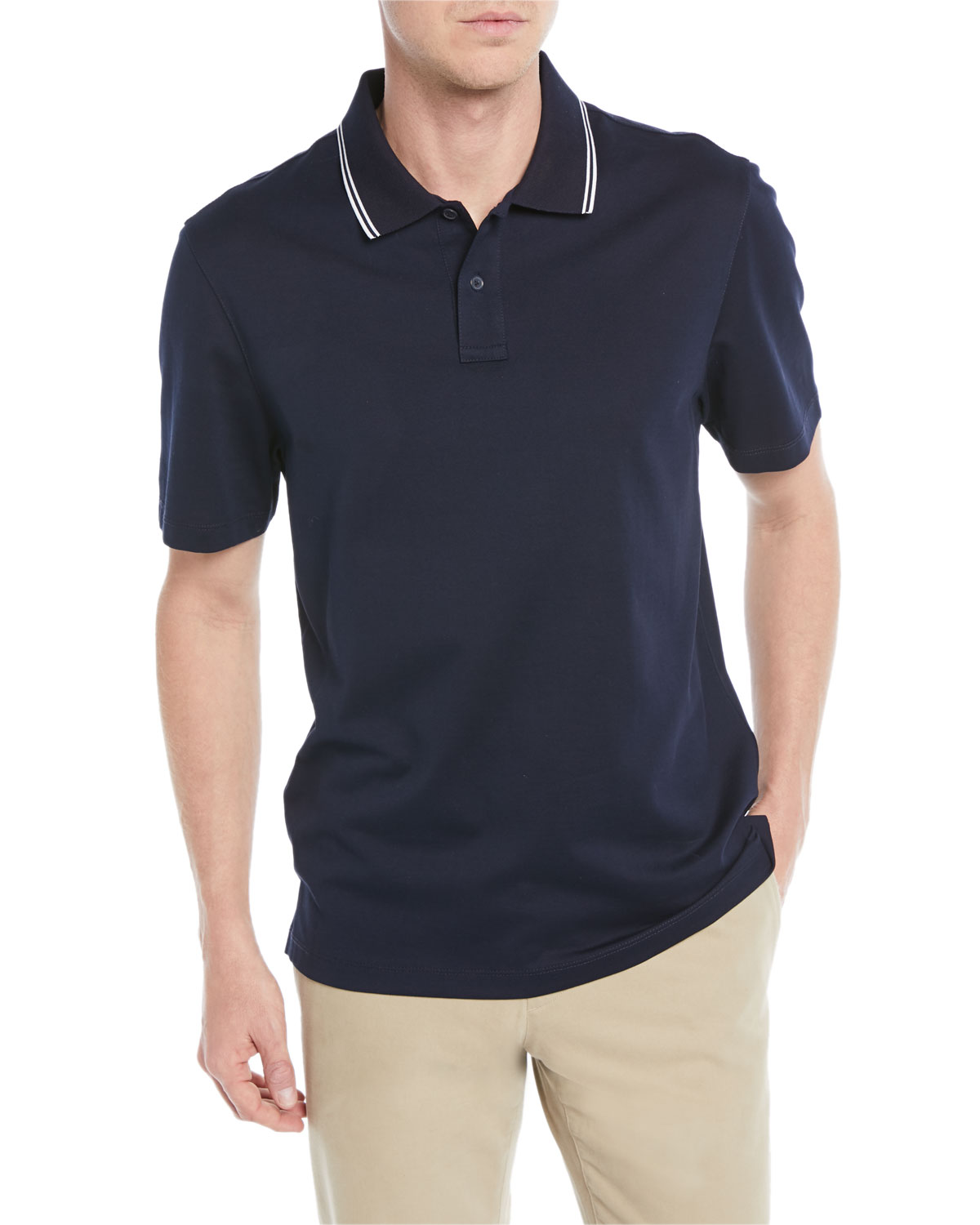 Vince Mens Tipped Collar Ribbed Polo Shirt Neiman Marcus