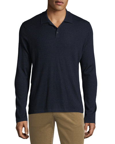 Men's Long-Sleeve Wool/Cashmere Polo Shirt