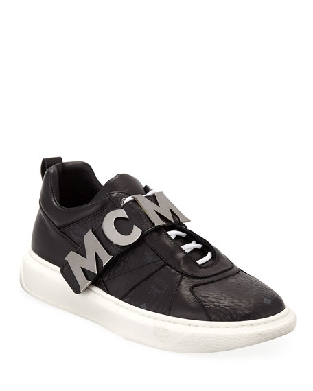 MCM MEN'S LOGO-STRAP LEATHER MID-TOP SNEAKERS
