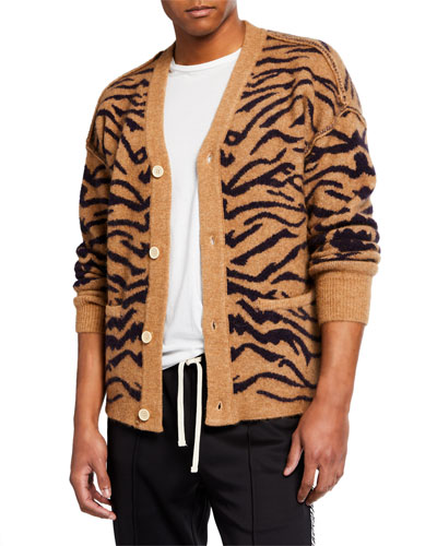 Men's Tiger Print Cardigan Sweater