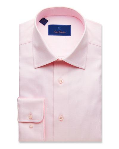 Men's Regular-Fit Micro-Basketweave Dress Shirt