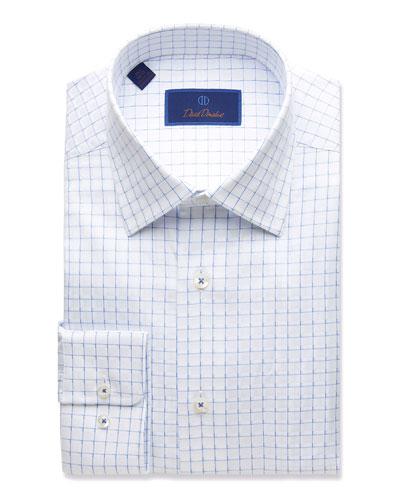 Men's Regular-Fit Twill Box-Check Dress Shirt