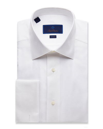 Men's Slim-Fit Diamond-Pattern Formal Dress Shirt