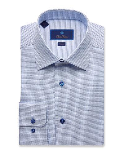 Men's Trim-Fit Mini-Basketweave Dress Shirt