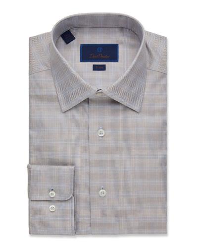 Men's Trim-Fit Glen Plaid Dress Shirt
