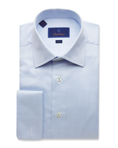 Men's Trim-Fit Micro-Dobby Dress Shirt with French Cuffs