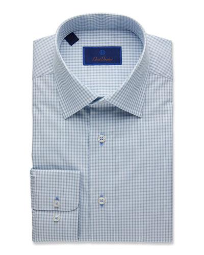 Men's Regular-Fit Textured Plaid Dress Shirt