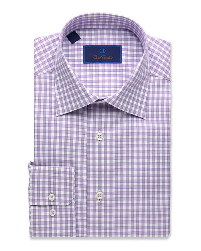Men's Regular-Fit Basketweave Check Dress Shirt