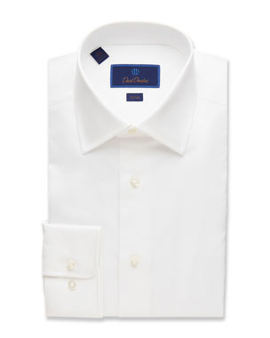 de89809f8 David Donahue Men s Trim-Fit Superfine Twill Dress Shirt