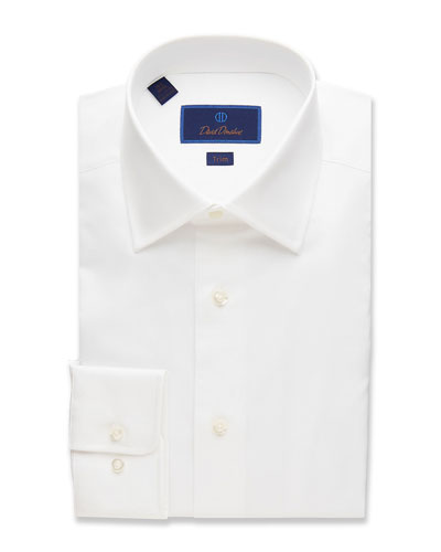 Men's Trim-Fit Superfine Twill Dress Shirt