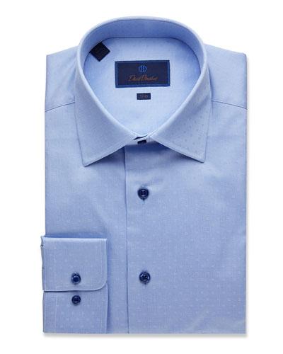 Men's Trim-Fit Dobby-Weave Dress Shirt