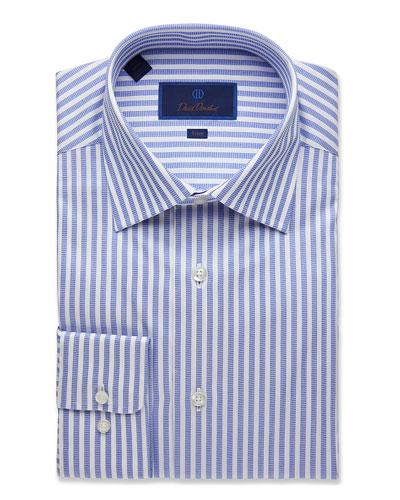 Men's Trim-Fit Railroad Stripe Dress Shirt