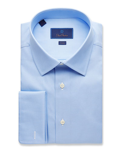 Men's Trim-Fit Micro-Birdseye Dress Shirt with French Cuffs