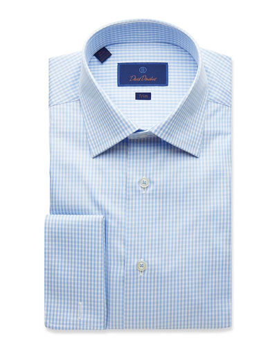 Men's Trim-Fit Classic Gingham Dress Shirt with French Cuffs