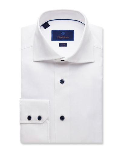 Men's Trim-Fit Micro-Textured Dress Shirt