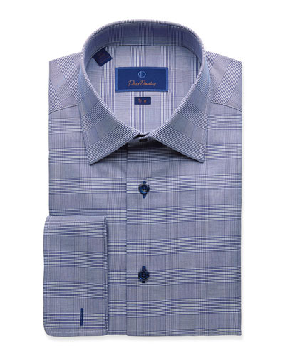 Men's Trim-Fit Glen Plaid Dress Shirt with French Cuffs