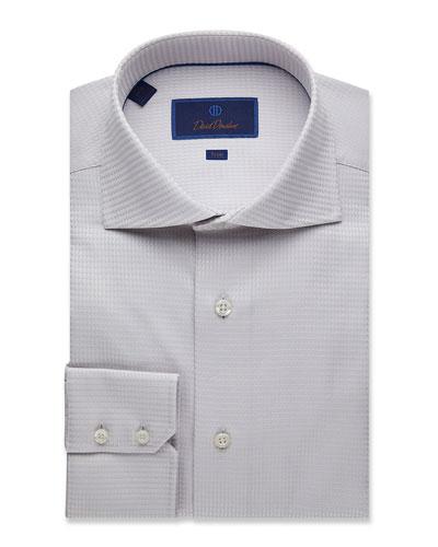 Men's Trim-Fit Tonal Twill Dress Shirt
