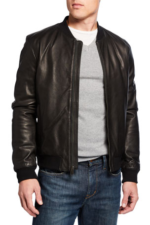 Cole Haan Men's Grainy Leather Varsity Jacket