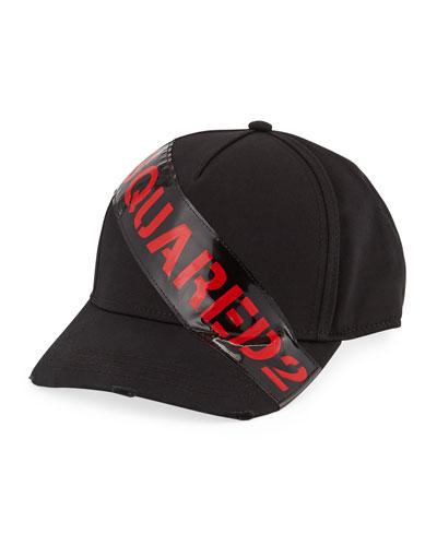 Men's Logo-Trim Gabardine Baseball Cap  Black