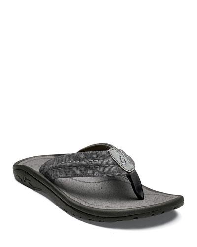 Men's Hokua Mesh Faux-Leather Flip-Flop Sandals  Clay/Charcoal