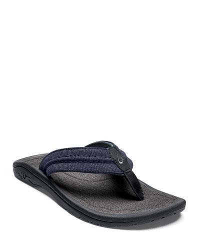Men's Hokua Mesh Faux-Leather Flip-Flop Sandals  Night/Charcoal