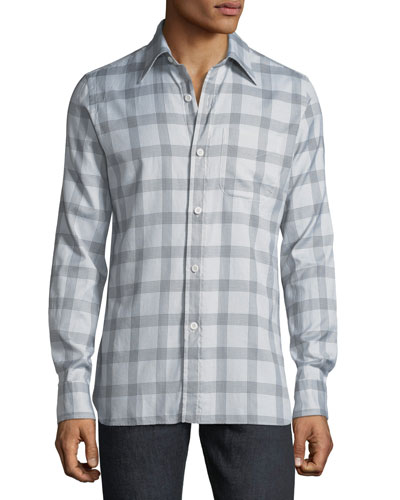 Men's Houndstooth Plaid Cotton Dress Shirt